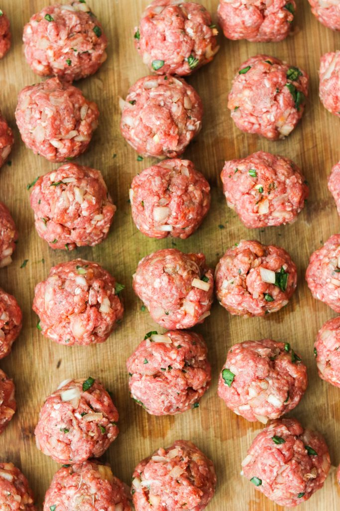 Paleo curry meatballs raw