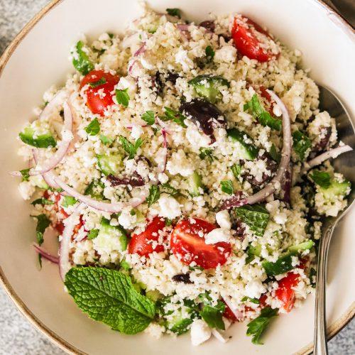 Mediterranean Cauliflower Couscous Salad (Paleo, Whole30, Keto, Vegan)