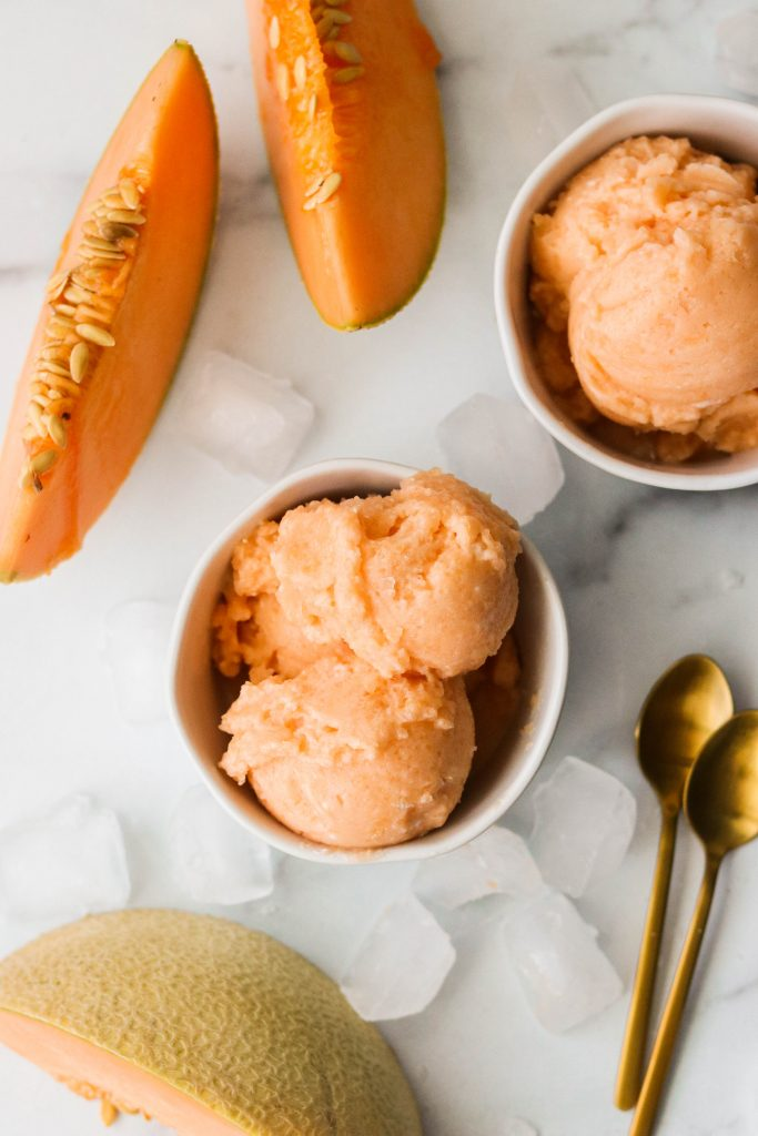 vegan and paleo sorbet with cantaloupes