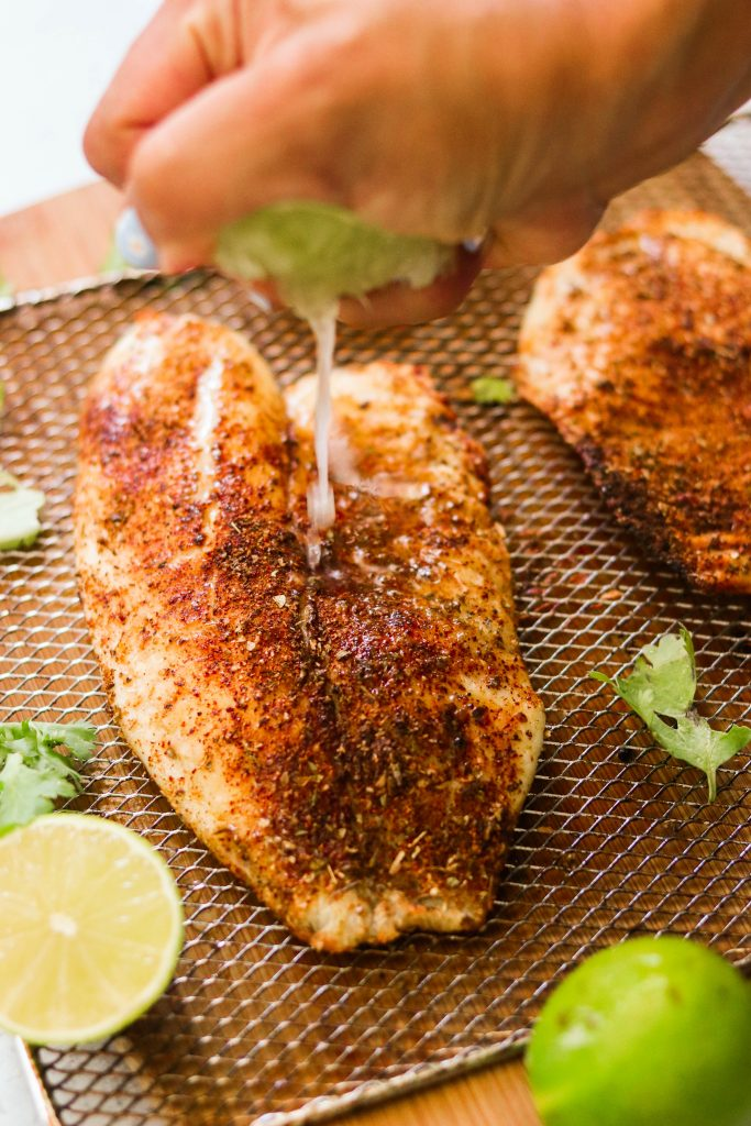 easy baked tilapia sprinkled with lime juice