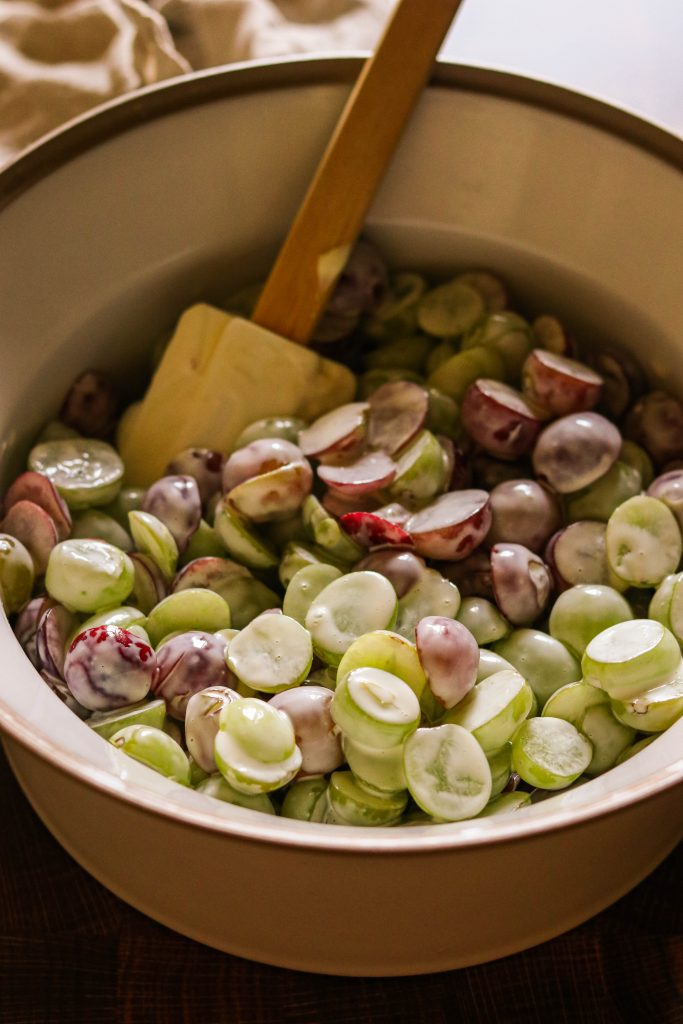 Easy grape salad: Halved grapes tossed with mayo and apple cider vinegar