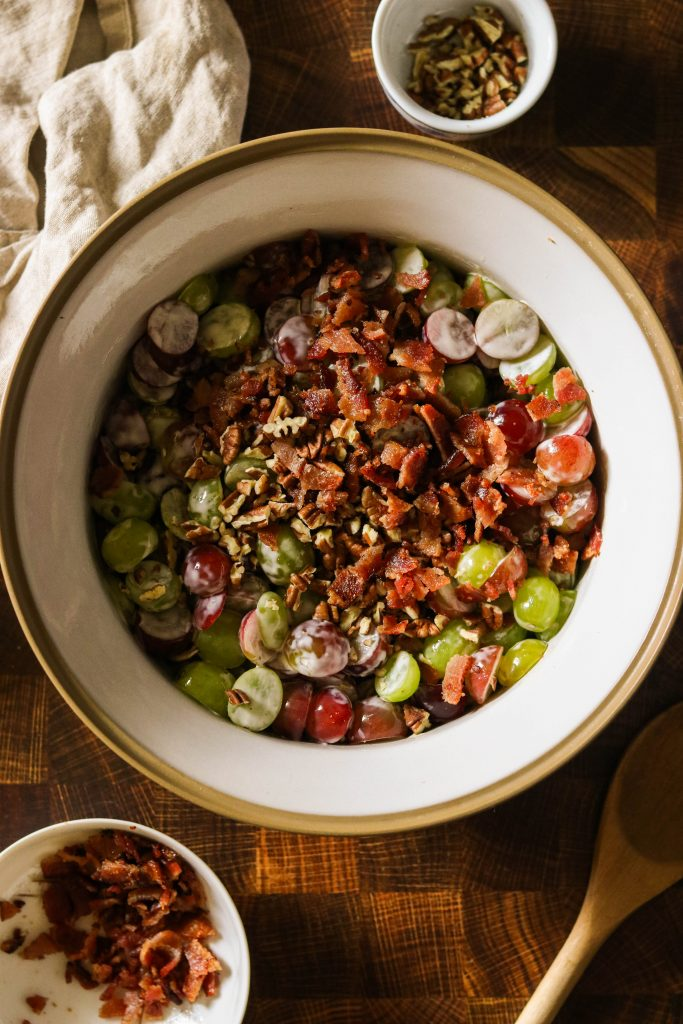 Grape salad with pecans and bacon on top