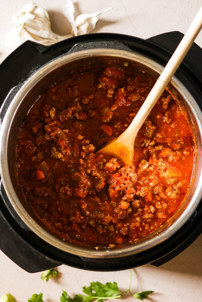 Paleo spaghetti meat sauce cooked in the Instant Pot