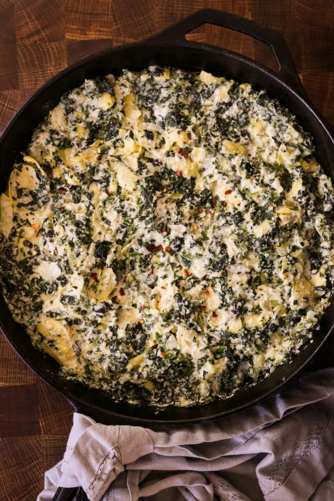 baked gnocchi casserole with dairy free spinach and artichoke dip base