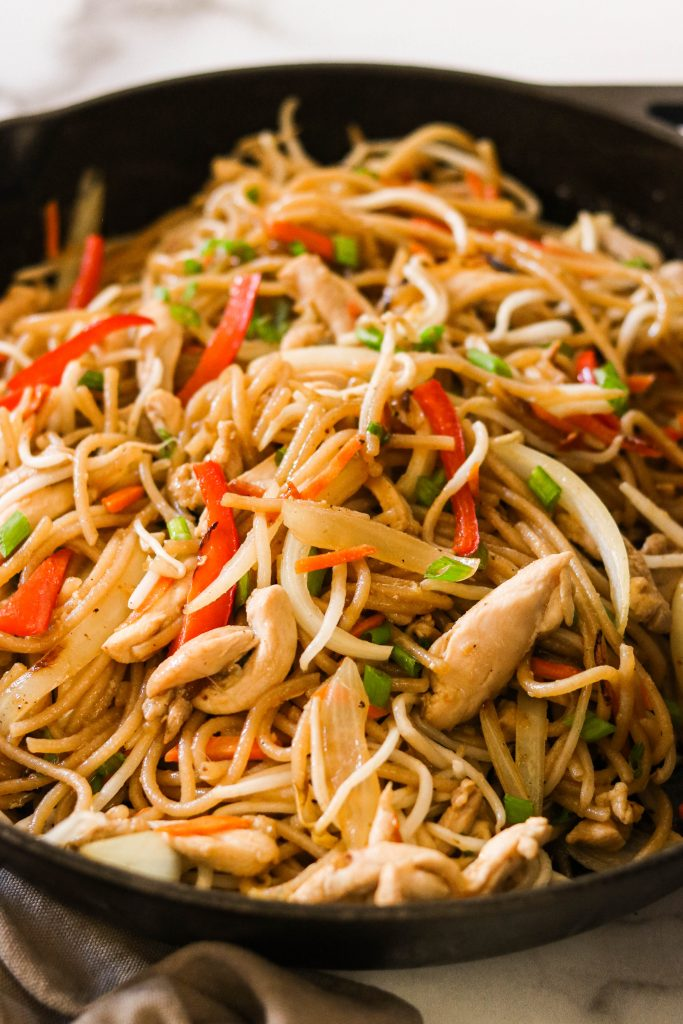 gluten free chicken lo mein recipe cooked in a skillet