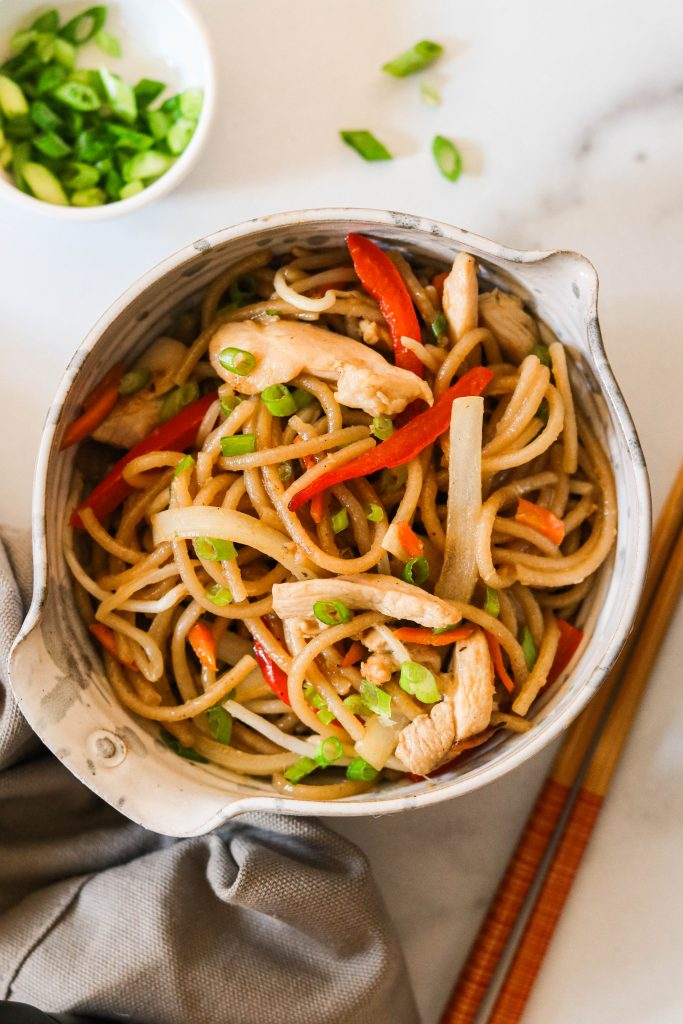 overhead shot of paleo lo mein in a bowl