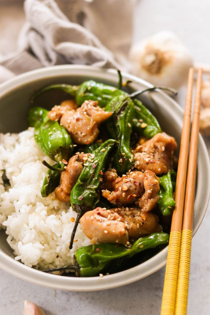 Easy mongolian chicken served with white rice