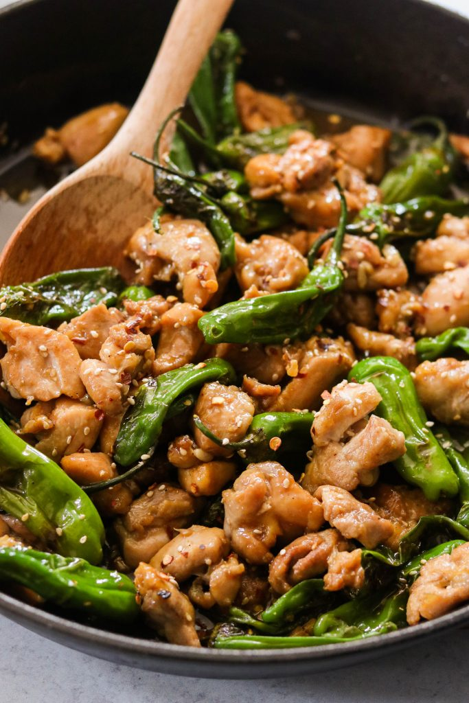 close up of paleo mongolian chicken