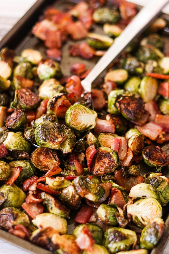 crispy bacon and brussels sprouts roasted and finished