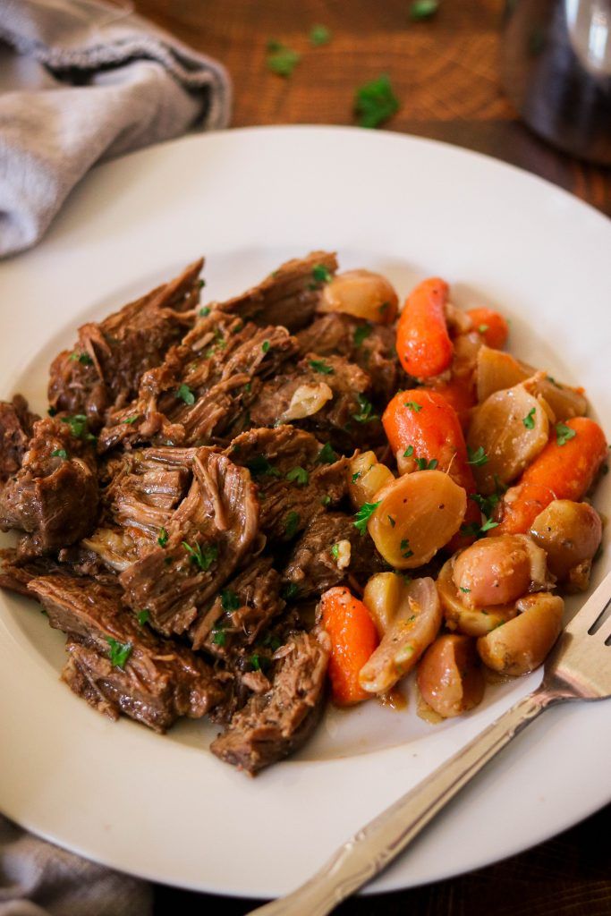 keto instant pot pot roast served on a plate with veggies