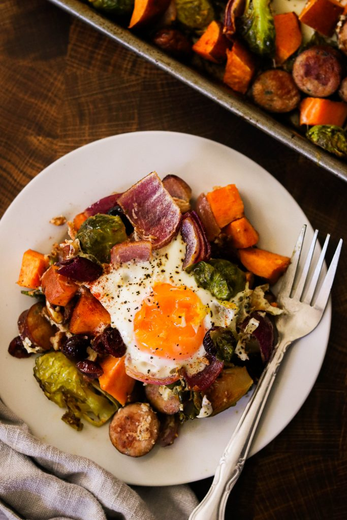 Whole30 sheet pan meals: breakfast bake served on a plate with a fork