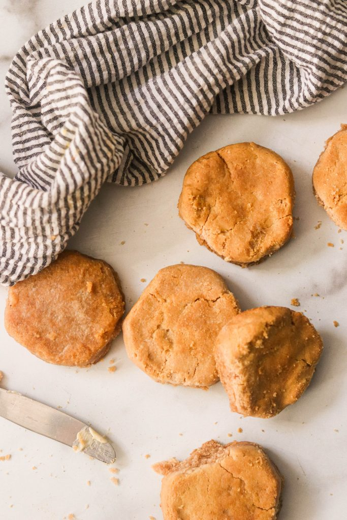 fluffy and delicious paleo cassava flour biscuits on a marble counter