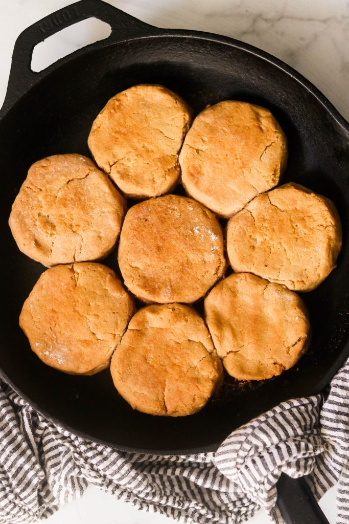 aip biscuit recipe - cassava biscuits baked in a cast iron skillet