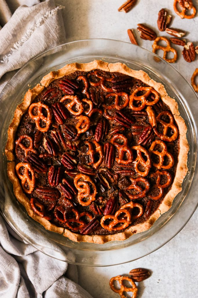 finished paleo chocolate pecan pie with pretzels