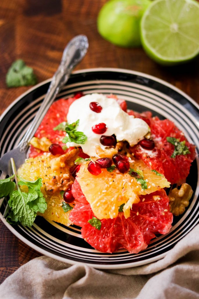 close up of winter citrus and pomegranate salad