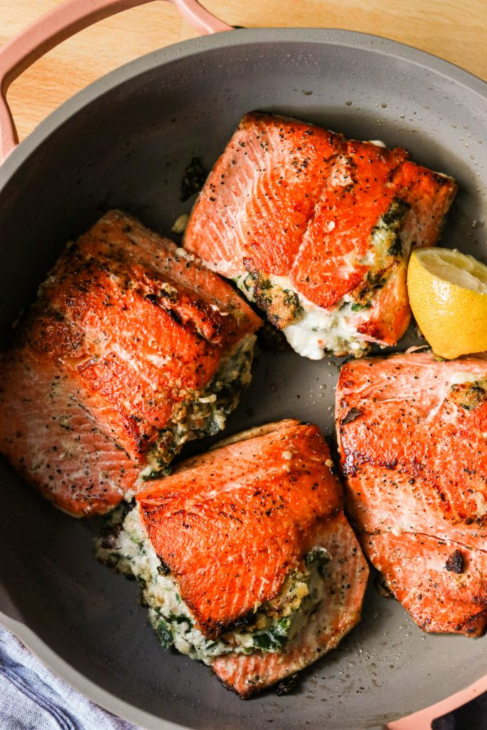 creamy spinach stuffed salmon pan fried and cooked