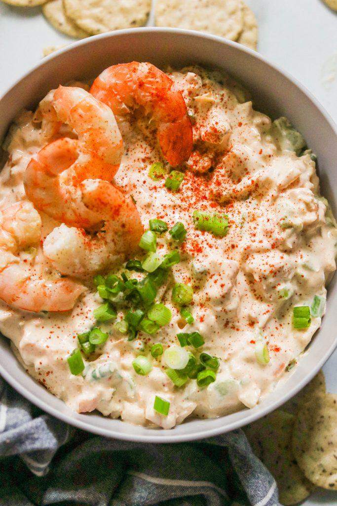 Close up of creamy paleo shrimp dip