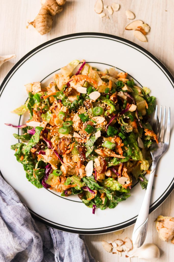 gluten free chinese chicken salad recipe served on a plate