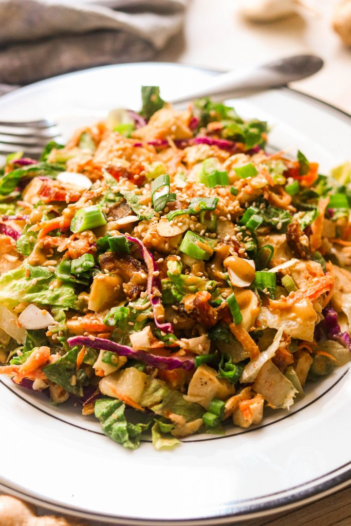 whole30 chinese chicken salad close up on a plate
