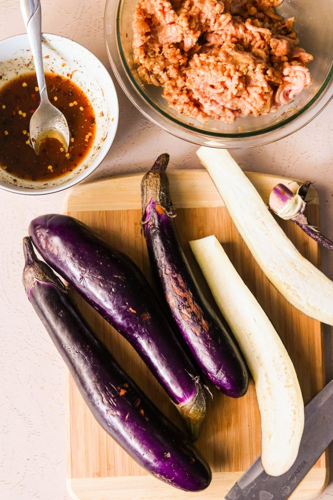 how to cut chinese eggplant