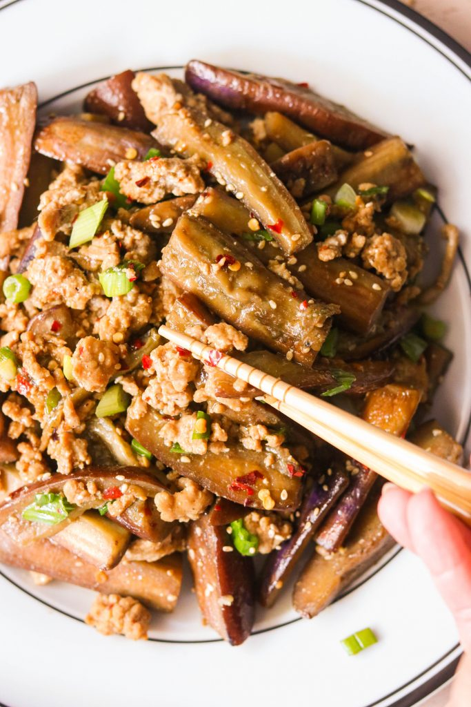 chinese eggplant and pork mince recipe on a plate with chopsticks