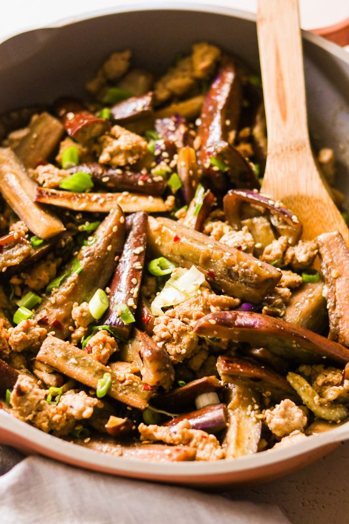 close up of Chinese eggplant stir fry in a skillet