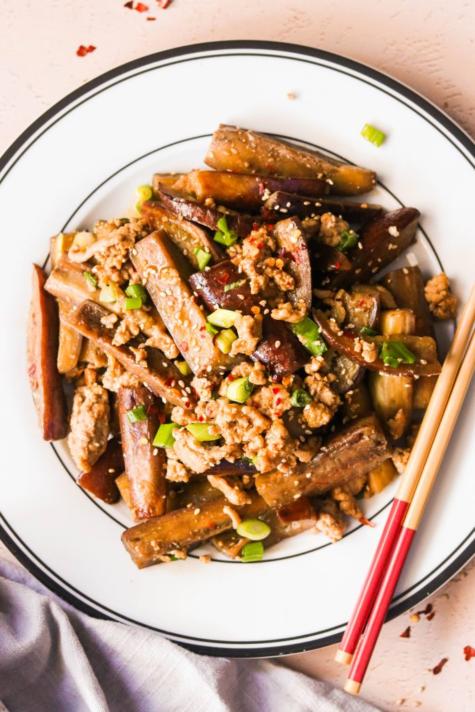 Whole30 chinese eggplant and pork served on plate