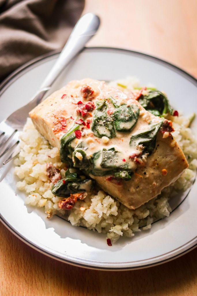 keto mahi mahi recipe served over cauliflower rice