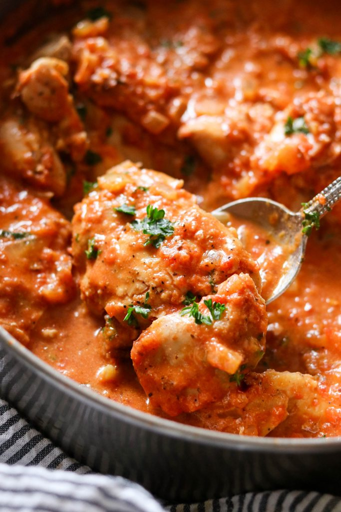 close up shot of Chicken with Creamy Tomato Sauce