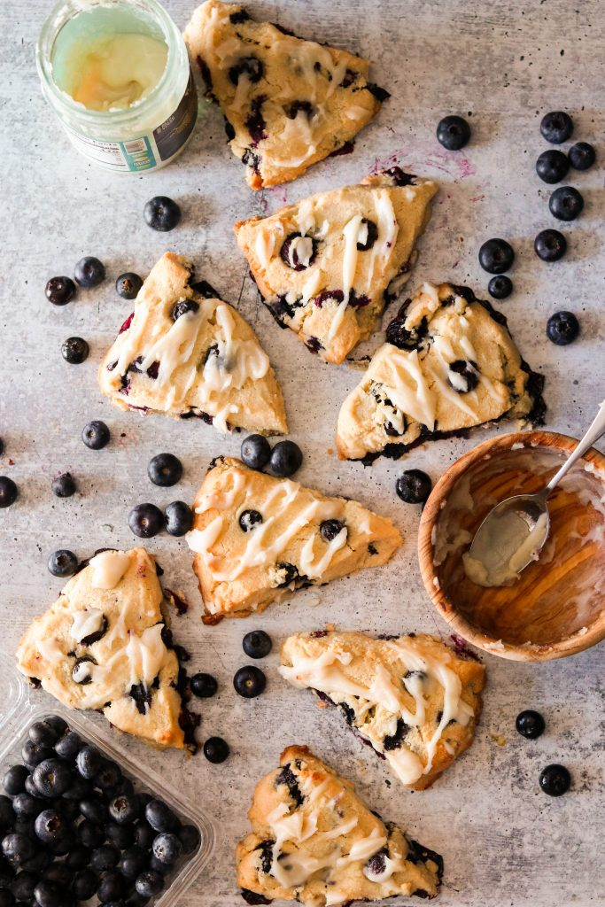 vegan gluten free scones with coconut butter and blueberries