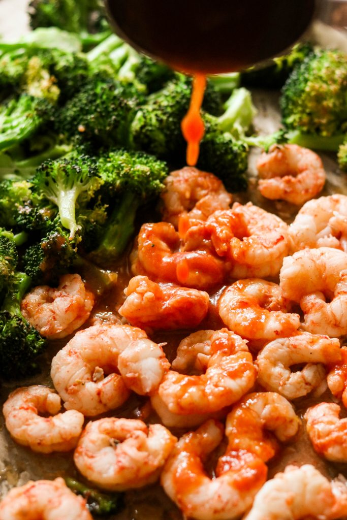 sheet pan shrimp and broccoli with Whole30 sweet and sour sauce