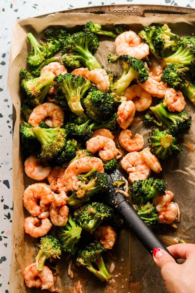 paleo sweet and sour shrimp on a sheet pan