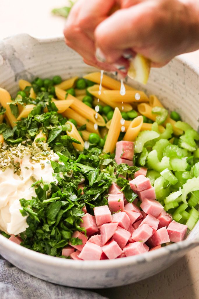 Ingredients for easy paleo pasta salad