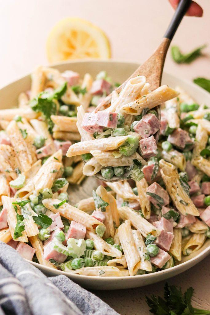 a scoop of paleo pasta salad