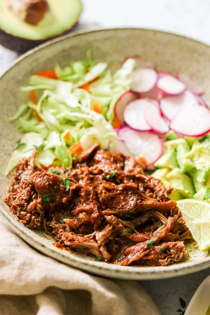 close up of pulled pork mole in a bowl