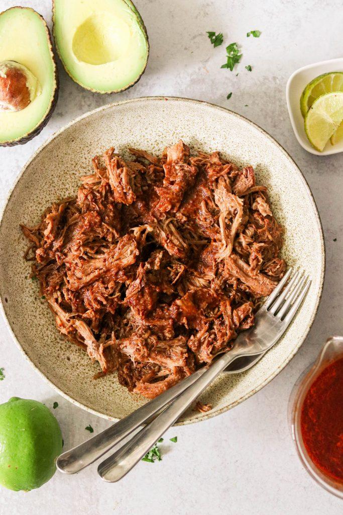 Shredded pork shoulder in mole sauce