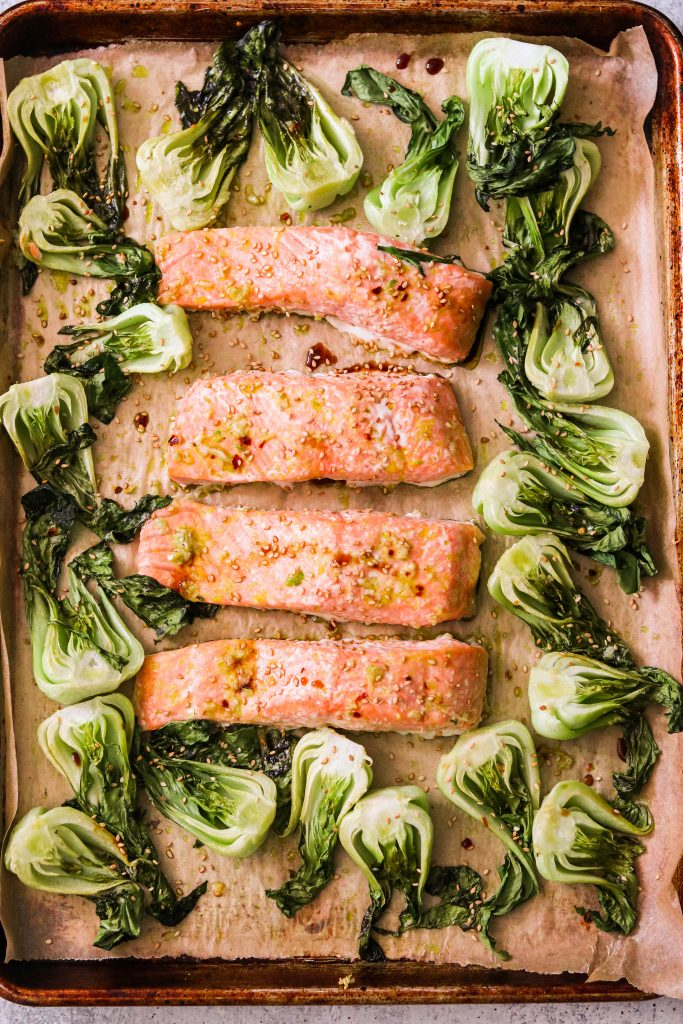 sheet pan salmon and vegetables roasted
