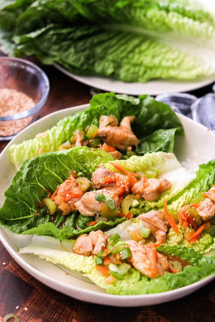 Sriracha Chicken Lettuce Wraps on a plate