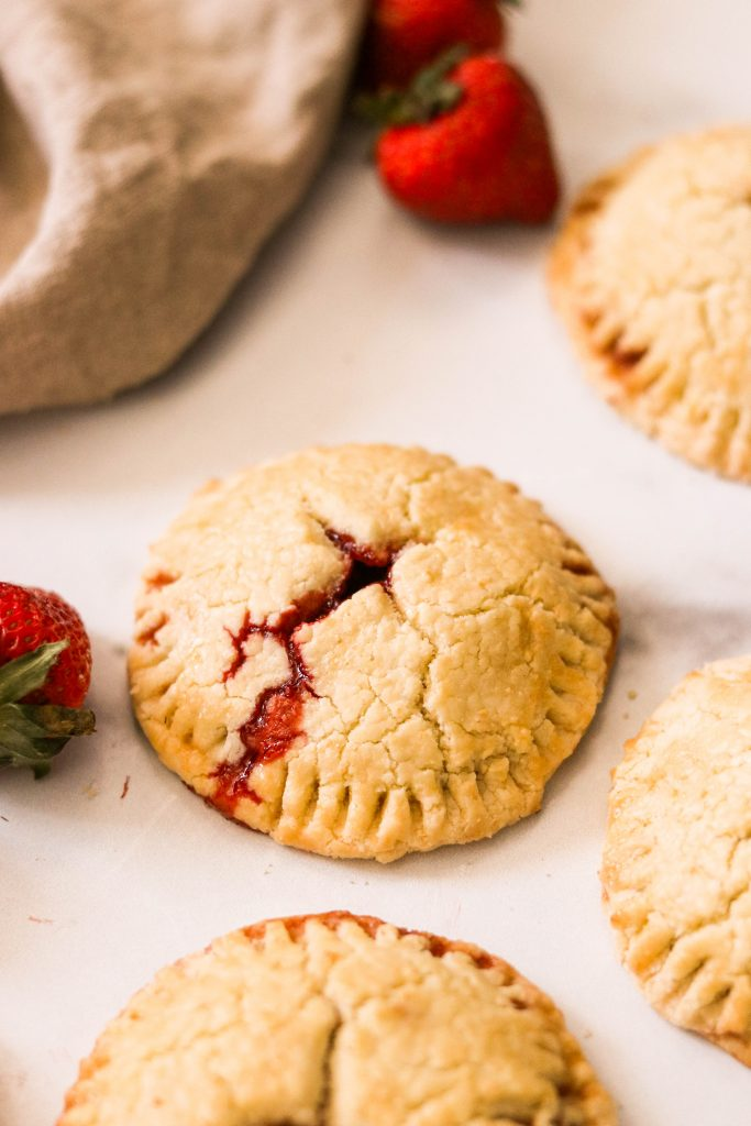 freshly baked paleo strawberry hand pies