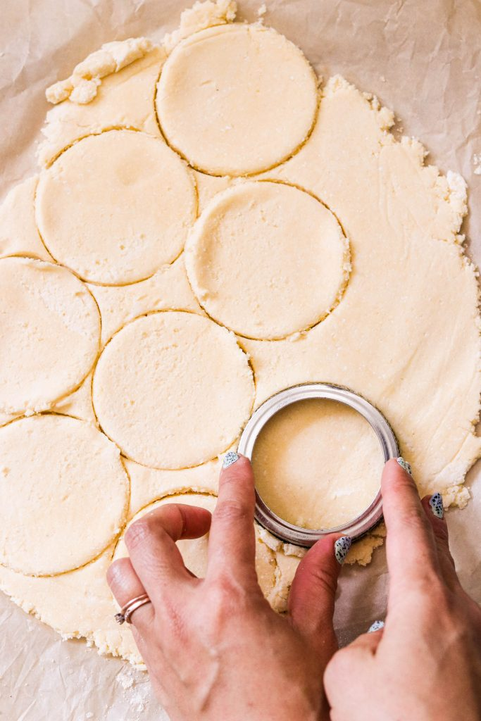 cutting out circles for paleo pie crust