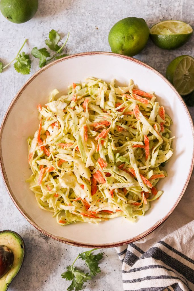 Mexican style coleslaw served in a bowl