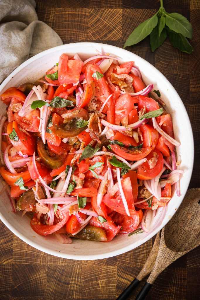 Bacon Tomato Salad Recipe served on a large plate
