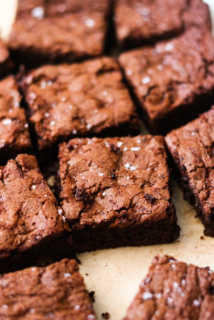 close up of easy fudgy gluten free brownies on a baking pan