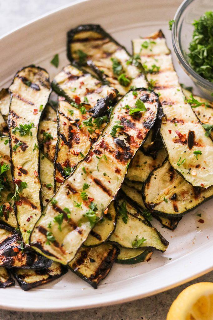 close up shot of grilled zucchini squash