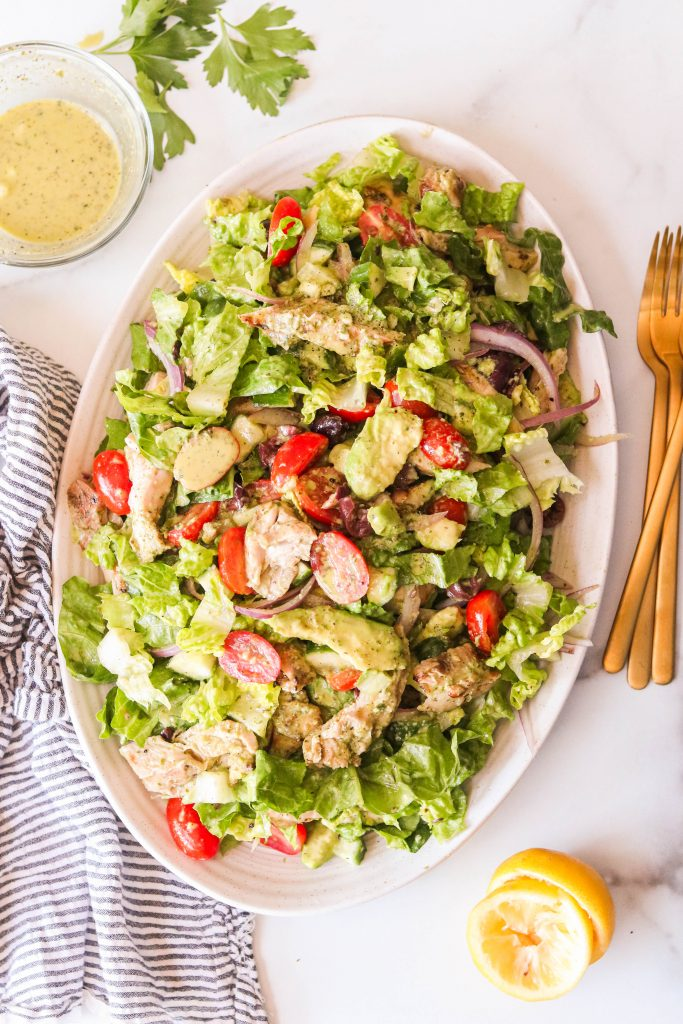 whole30 chicken salad recipe with vegetables on a plate