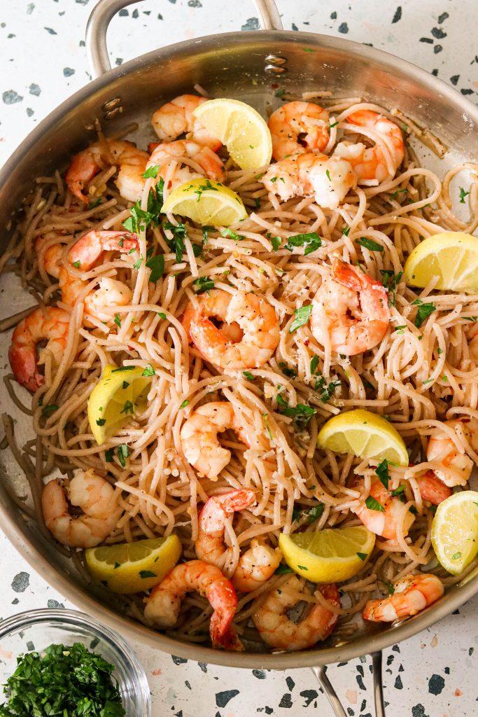 one pot lemon garlic shrimp pasta in a pan