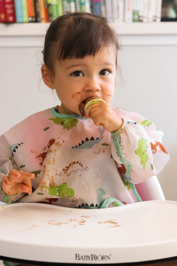 toddler eating healthy chocolate ice pops
