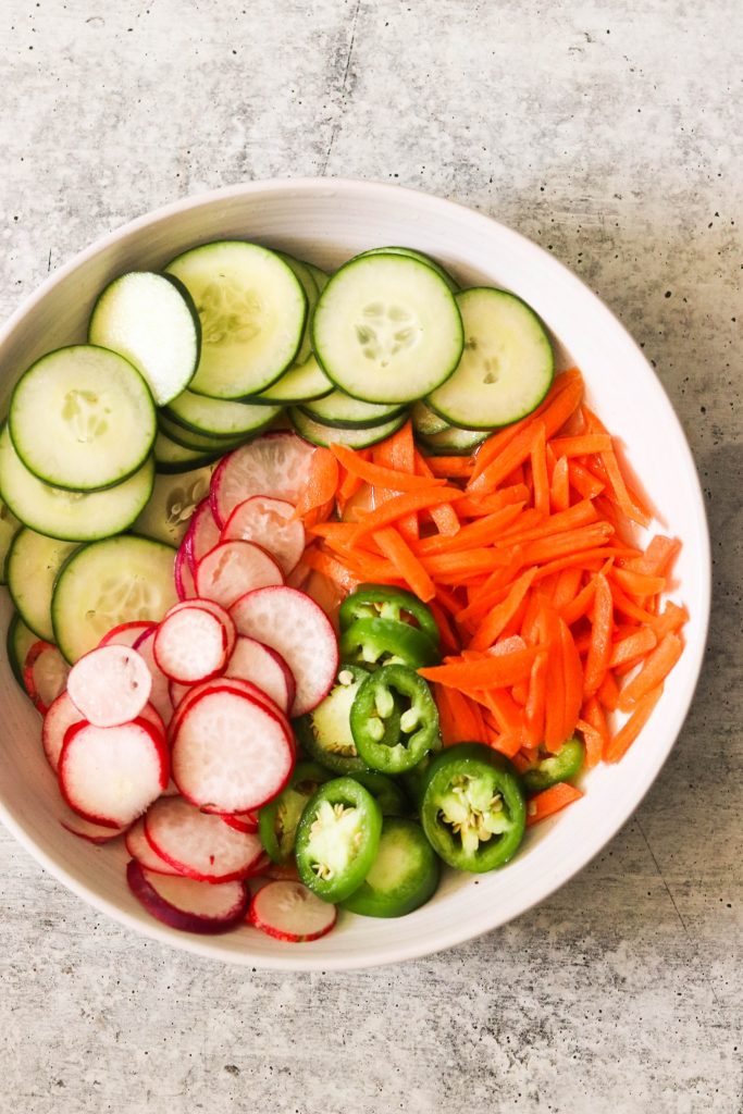 Vegetables quick pickling in a bowl