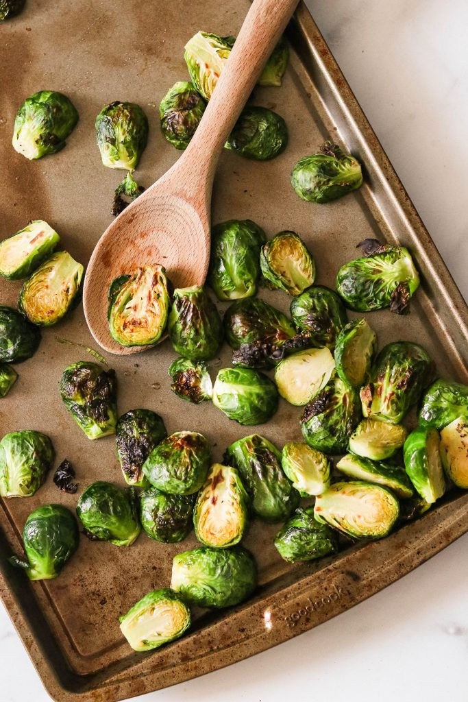 steamed and broiled brussels sprouts