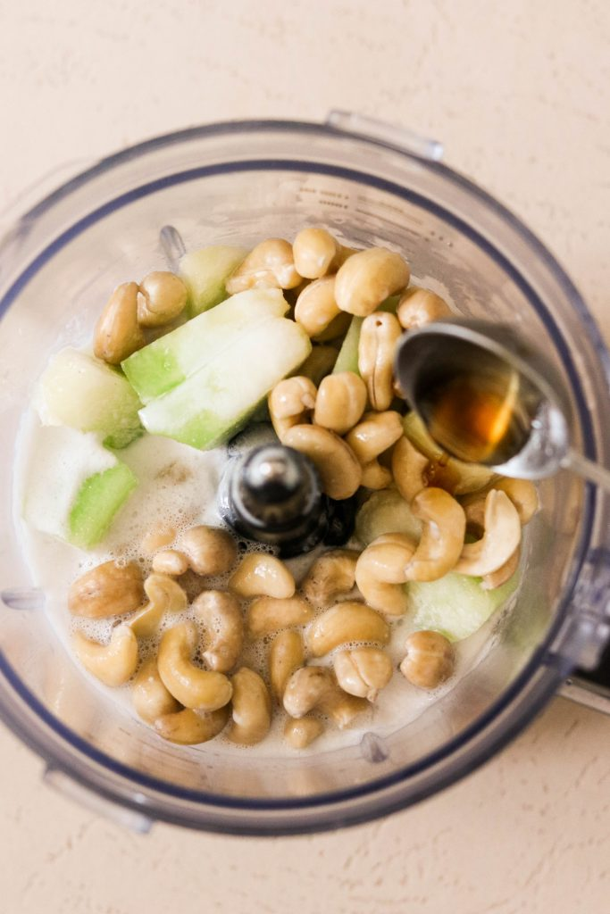 Melona Bar recipe: Ingredients in a blender for cashew coconut Melona bars